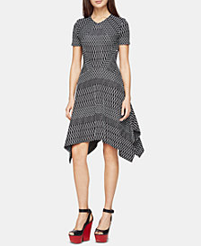 BCBGMAXAZRIA Arsley Asymmetrical Jacquard Dress