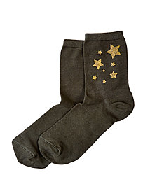 HUE® Metallic Star Shortie Socks