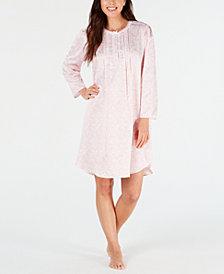 Miss Elaine Petite Printed Brushed-Back Satin Nightgown