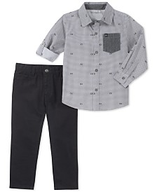 Calvin Klein Toddler Printed Cotton Shirt & Pants Set
