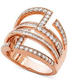 Diamond Geometric Statement Ring (1-1/4 ct. t.w.) in 14k Rose Gold