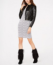 Leather Moto Jacket & Ottoman-Ribbed Dress