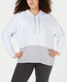 b1833d1e09d78 Calvin Klein Performance Plus Size Colorblocked Metallic-Logo Dolman-Sleeve  Hoodie