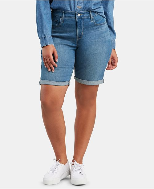 Levi's Trendy Plus Size Shaping Denim Bermuda Shorts