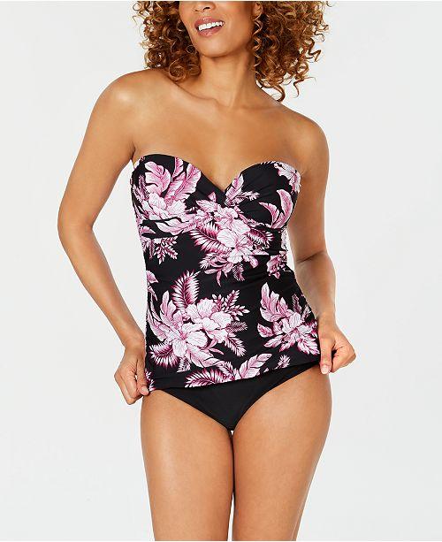 51d5c86bed402 ... Island Escape Kihei Fiji Printed Bandini Underwire Bandeau Tankini Top    Bikini Bottoms