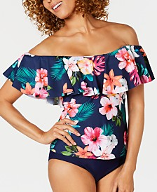 Island Escape Ohana Printed La Flor Ruffled Off-The-Shoulder Tankini Top, Created for Macy's