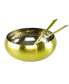 Gold Salad Bowl and salad server Set-set of 3