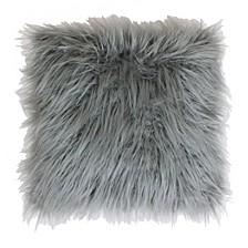 "Keller Faux Mongolian Reverse To Micromink Pillow, 16"" x 16"""