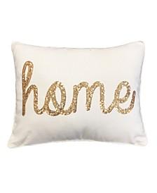 """""""Home"""" Sequin Script Faux Linen Pillow, 14"""" x 18"""""""