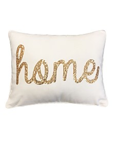 """Home"" Sequin Script Faux Linen Pillow, 14"" x 18"""