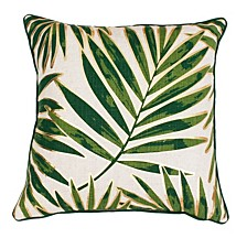 """Don Remilly Gold Foiled Printed Leaf Pillow, 20"""" x 20"""""""
