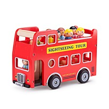 New Classic Toys Wooden City Tour Bus with 9 Figures