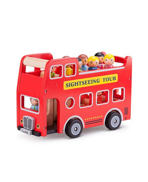 Eitech New Classic Toys Wooden City Tour Bus with 9 Figures