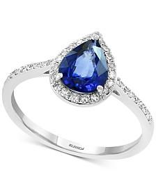 EFFY® Sapphire (1 ct. t.w.) & Diamond (1/6 ct. t.w.) Ring in 14k White Gold