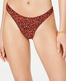 Juniors' On the Spot Printed High-Leg Cheeky Bikini Bottoms