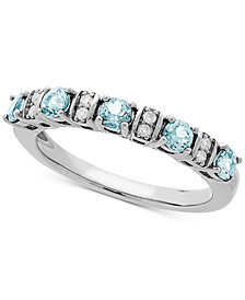 Love Rocks Bridal Aquamarine (1/2 ct. t.w) & Diamond Accent Band in 14k White Gold