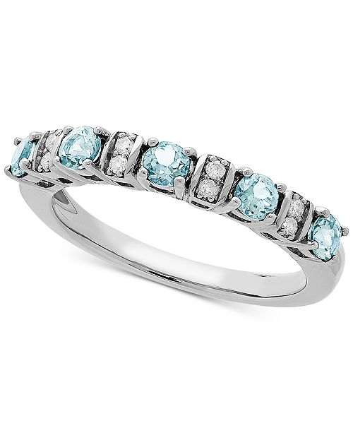 Macy's Love Rocks Bridal Aquamarine (1/2 ct. t.w) & Diamond Accent Band in 14k White Gold