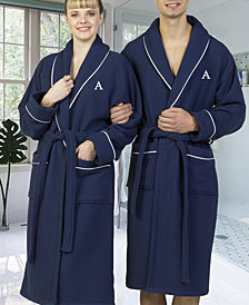 Linum Home Personalized 100% Turkish Cotton Waffle Terry Bath Robe - Navy