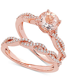 Love Rocks Bridal Morganite (1-1/4 ct. t.w) & Diamond (3/8 ct.t.w) Bridal Set in 14k Rose Gold