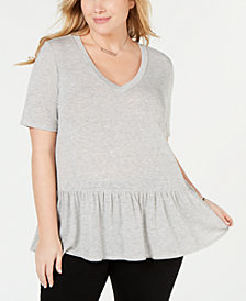 Soprano Trendy Plus Size Peplum Top