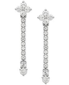 Swarovski Zirconia Linear Drop Earrings in Sterling Silver