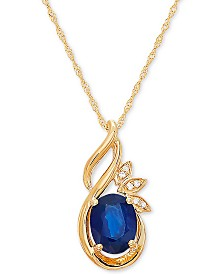 "Sapphire (1-1/2 ct t.w.) & Diamond Accent 18"" Pendant in 14k Gold"