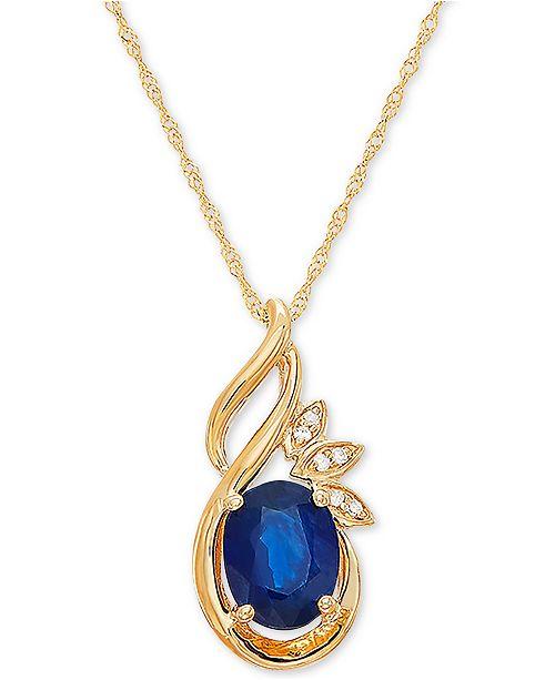 "Macy's Sapphire (1-1/2 ct t.w.) & Diamond Accent 18"" Pendant in 14k Gold"