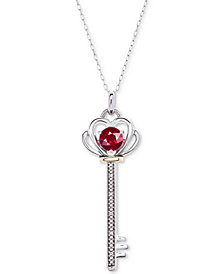 "Lab-Created Ruby (3/4 ct. t.w.) & Diamond Accent Key 18"" Pendant Necklace in Sterling Silver & 10k Gold"