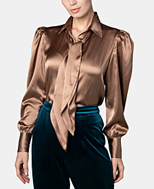 Brittany Xavier x INSPR Satin Tie Neck Top, Created for Macy's