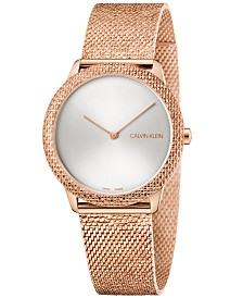 Calivn Klein Women's Swiss Minimal Pink Gold-Tone PVD Stainless Steel Mesh Bracelet Watch 35mm