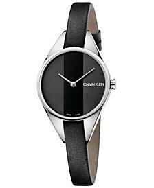 Calvin Klein Women's Swiss Rebel Black Leather Strap Watch 29mm