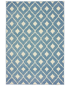 "Oriental Weavers Barbados 5502B Blue/Ivory 6'7"" x 9'6"" Indoor/Outdoor Area Rug"