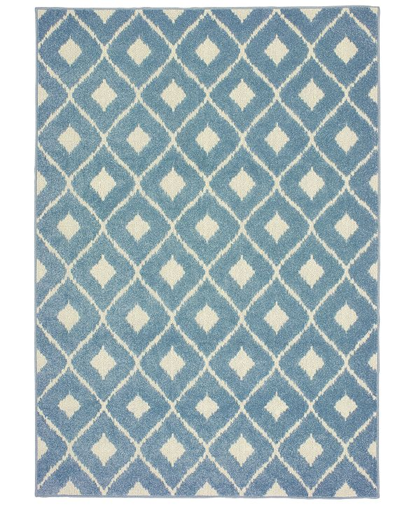 "Oriental Weavers Barbados 5502B Blue/Ivory 7'10"" x 10' Indoor/Outdoor Area Rug"