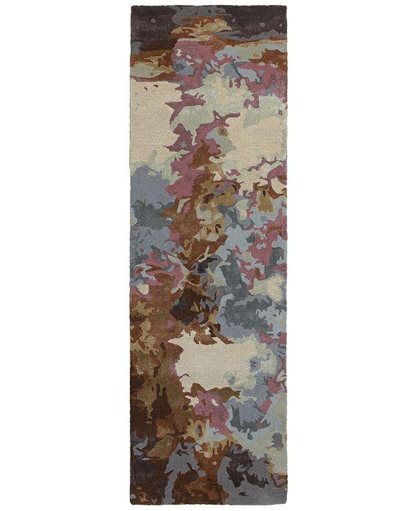 """Oriental Weavers Galaxy 21905 Blue/Brown 2'6"""" x 8' Runner Area Rug"""