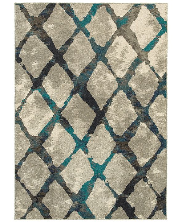 "Oriental Weavers Highlands 6613A Gray/Blue 6'7"" x 9'6"" Area Rug"