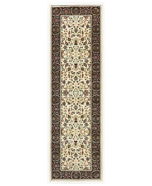 """Oriental Weavers Kashan 108X Ivory/Black 2'3"""" x 7'6"""" Runner Area Rug"""