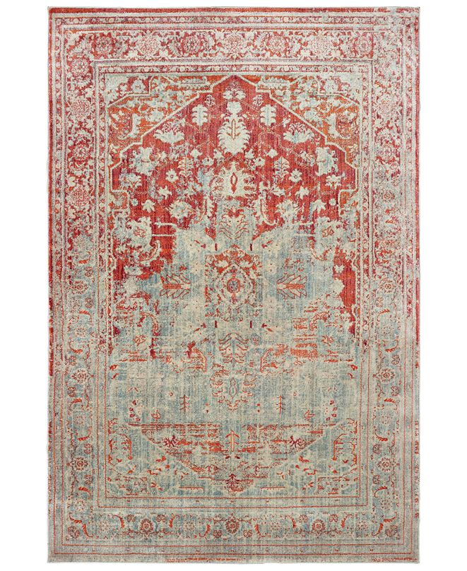 "Oriental Weavers Pandora 1501U Gray/Orange 2'3"" x 7'6"" Runner Area Rug"