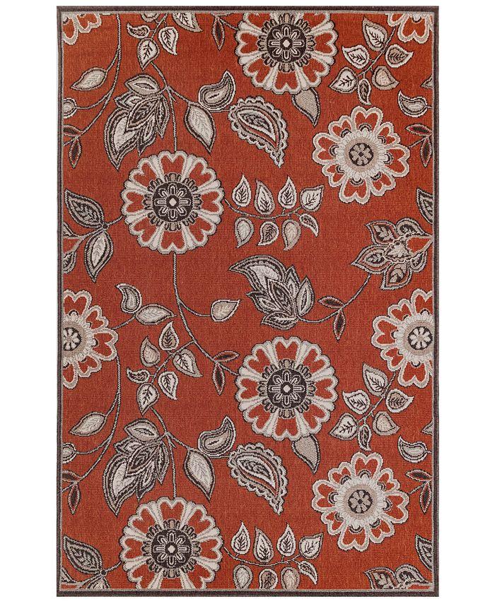 """Liora Manne' - Riviera 7630 Floral Vine 7'10"""" x 9'10"""" Indoor/Outdoor Area Rug"""