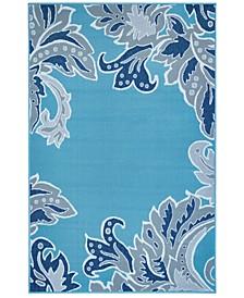 """Riviera 7648 Ornamental Leaf 4'10"""" x 7'6"""" Indoor/Outdoor Area Rug"""