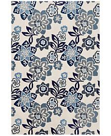 "Liora Manne' Ravella 2180 Floral Blue 3'6"" x 5'6"" Indoor/Outdoor Area Rug"