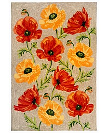 "Liora Manne' Ravella 2272 Icelandic Poppies Ivory/Cream 5' x 7'6"" Indoor/Outdoor Area Rug"