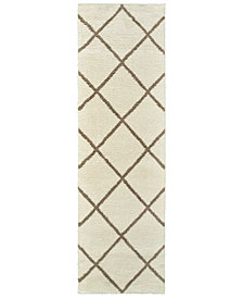 "Oriental Weavers Verona Shag 2W Ivory/Brown 2'3"" x 7'6"" Runner Area Rug"