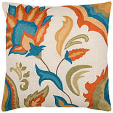 """Rizzy Home 18"""" x 18"""" Floral Pillow Cover"""