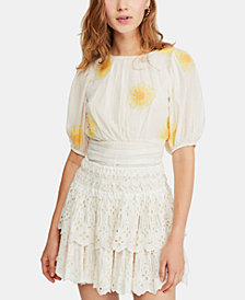 Free People My Girl Cotton Embroidered Puff-Sleeve Top