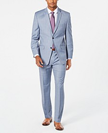 by Andrew Marc Men's Modern-Fit Stretch Light Blue Windowpane Sharkskin Suit