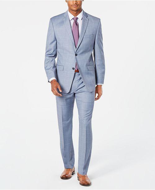 Marc New York by Andrew Marc Men's Modern-Fit Stretch Light Blue Windowpane Sharkskin Suit