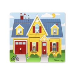 Melissa & Doug Around the House Sound Puzzle - Wooden Peg Puzzle (8 pcs)
