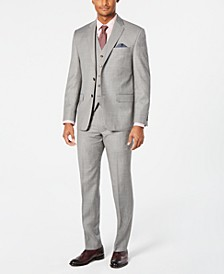 Men's Classic-Fit UltraFlex Stretch Light Gray Stepweave Vested Suit Separates