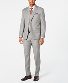 Lauren Ralph Lauren Men's Classic-Fit UltraFlex Stretch Light Gray Stepweave Vested Suit Separates