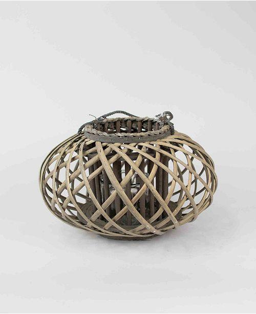 Kalalou Low Small Round Willow Lantern w/Glass